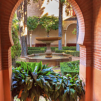 Buy canvas prints of Alhambra Arch Courtyard Fountain Patio Granada And by William Perry
