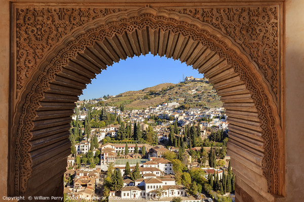 Alhambra Arch Granada Cityscape Andalusia Spain Framed Mounted Print by William Perry