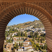 Buy canvas prints of Alhambra Arch Granada Cityscape Andalusia Spain by William Perry