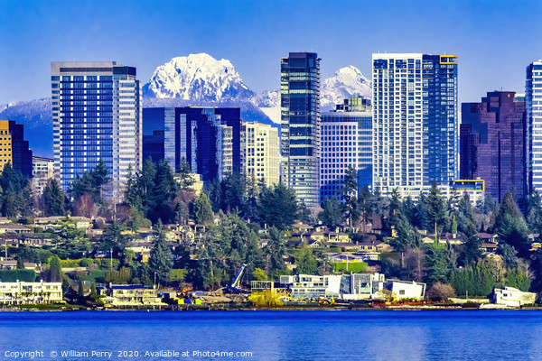 Buildings Lake Washington Snow Mountains Bellevue  Framed Mounted Print by William Perry