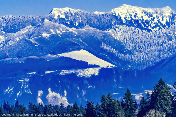 Snow Capped Mountains Bellevue Washington Framed Mounted Print by William Perry