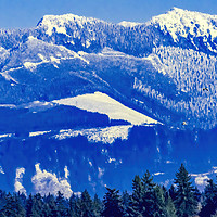 Buy canvas prints of Snow Capped Mountains Bellevue Washington by William Perry