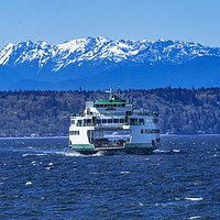 Buy canvas prints of Washington State Ferry Boat Olympic Mountain Range by William Perry