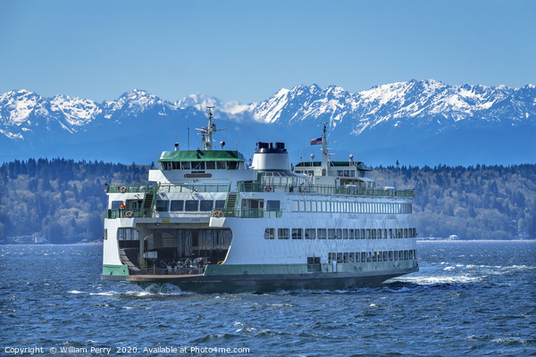 Washington State Ferry Olympic Mountains Edmonds Framed Mounted Print by William Perry