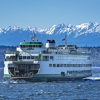 Buy canvas prints of Washington State Ferry Olympic Mountains Edmonds by William Perry