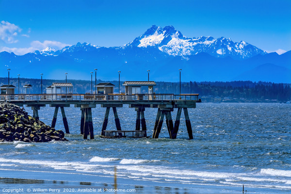 Mount Olympus Pier Olympic Mountains Beach Park Ed Framed Mounted Print by William Perry