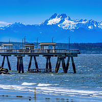 Buy canvas prints of Mount Olympus Pier Olympic Mountains Beach Park Ed by William Perry
