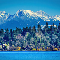 Buy canvas prints of Lake Washington Snow Capped Mountains Bellevue Was by William Perry