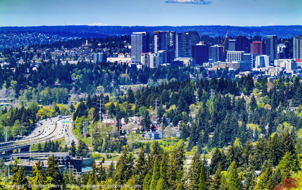 Houses City Center Bellevue Washington Framed Mounted Print by William Perry