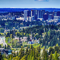 Buy canvas prints of Houses City Center Bellevue Washington by William Perry