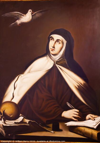 Saint Teresa Painting Convento de Santa Teresa Avila Castile Spain Print by William Perry