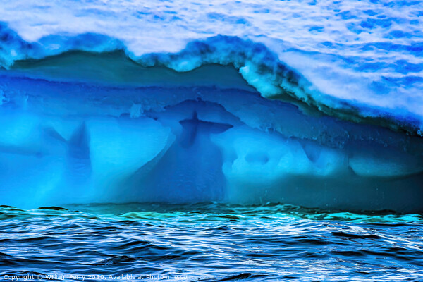 Floating Blue Green Iceberg Closeup Water Antarctica Framed Print by William Perry
