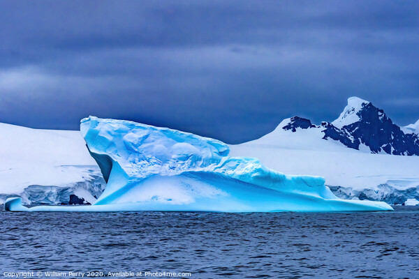 Floating Blue Iceberg Charlotte Bay Antarctica Framed Print by William Perry