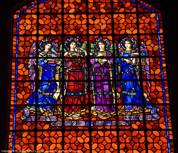 Angels Drums Pipes Stained Glass Mission Dolores San Francisco C Acrylic by William Perry