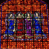 Buy canvas prints of Angels Drums Pipes Stained Glass Mission Dolores San Francisco C by William Perry