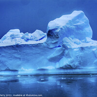 Buy canvas prints of Snowing Blue Iceberg Reflection Paradise Bay Antarctica by William Perry