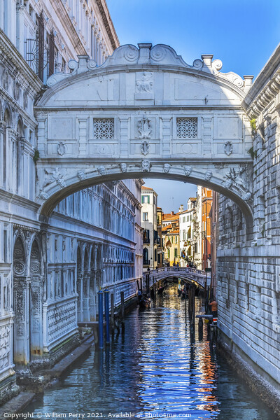 Bridge of Sighs Small Colorful Canal Venice Italy Print by William Perry