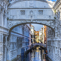 Buy canvas prints of Bridge of Sighs Small Colorful Canal Venice Italy by William Perry