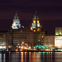 Buy canvas prints of Liverpool Pierhead at Night by Wayne Molyneux