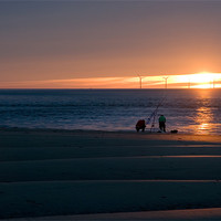 Buy canvas prints of Beach Casters on The Wirral by Wayne Molyneux