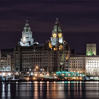 Buy canvas prints of Liverpool Skyline at Night by Wayne Molyneux