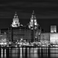Buy canvas prints of Liverpool at night by Wayne Molyneux