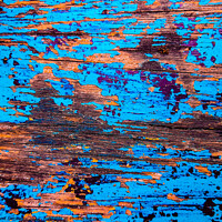 Buy canvas prints of Blue brown abstract painting art with blotchy and  by Hanif Setiawan