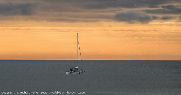 Little boat, big sea Print by Richard Perks