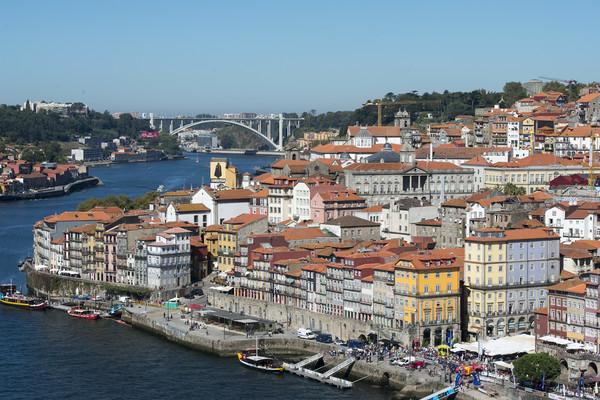 EUROPE PORTUGAL PORTO RIBEIRA OLD TOWN DOURO RIVER Print by urs flueeler