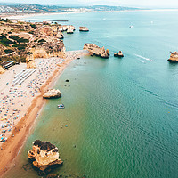 Buy canvas prints of Ocean View, Aerial Beach Portugal, Lagos Algarve by Radu Bercan