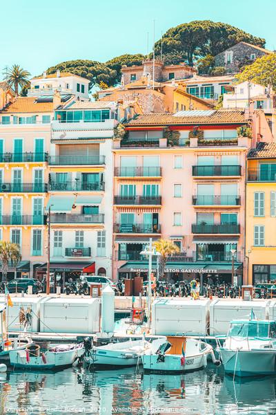 Cannes Downtown City Skyline, French Riviera Port Print by Radu Bercan