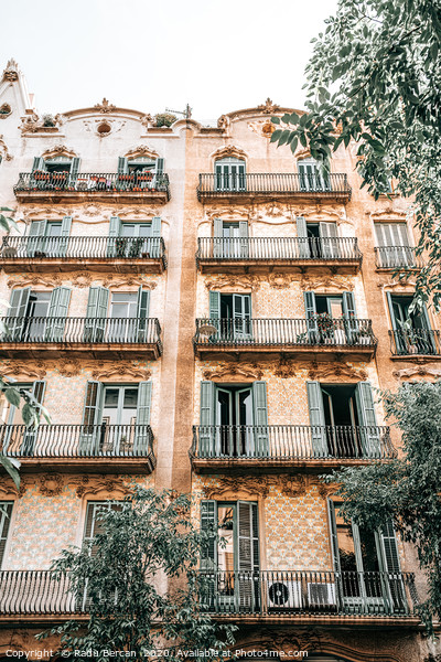 Barcelona City Architecture, Spain Building Facade Framed Mounted Print by Radu Bercan