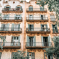Buy canvas prints of Barcelona City Architecture, Spain Building Facade by Radu Bercan