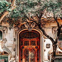 Buy canvas prints of Modernist House Comalat Barcelona, Door Entrance by Radu Bercan