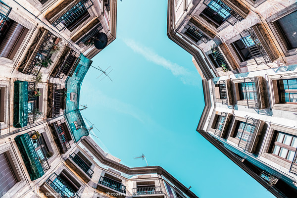 Looking Up, Low Angle Perspective, Barcelona City Framed Mounted Print by Radu Bercan