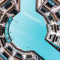 Buy canvas prints of Looking Up, Low Angle Perspective, Barcelona City by Radu Bercan