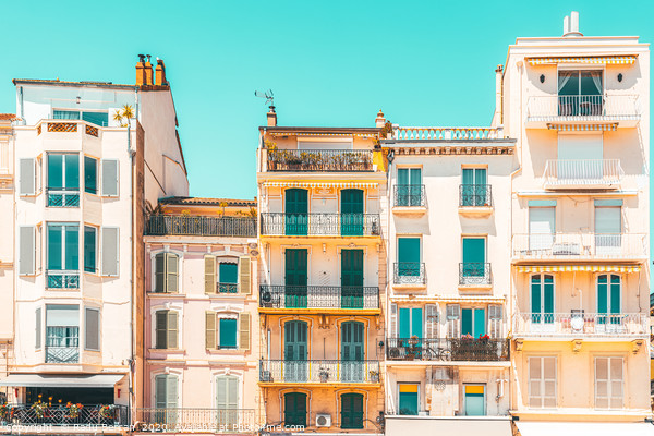 Cannes City Architecture, French Riviera Pastel Canvas Print by Radu Bercan