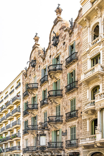 Casa Calvet, Antoni Gaudi Architecture Barcelona Framed Mounted Print by Radu Bercan
