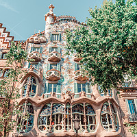 Buy canvas prints of Casa Batllo Barcelona, Antoni Gaudi Architecture by Radu Bercan