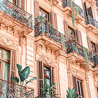 Buy canvas prints of Vintage Facade Building, Barcelona City Urban View by Radu Bercan