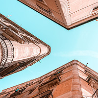 Buy canvas prints of Barcelona City, Gothic Quarter, El Raval Look Up by Radu Bercan