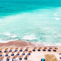 Buy canvas prints of Ocean Print, Beach Print, Aerial Beach Print, Blue by Radu Bercan