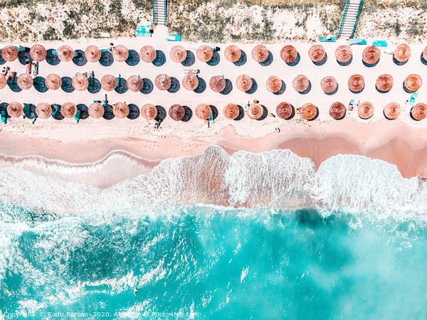 Aerial Ocean, Blue Sea And Beach, Round Umbrellas Acrylic by Radu Bercan