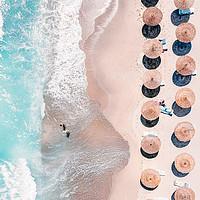 Buy canvas prints of People Umbrellas On Beach, Aerial Beach, Sea Print by Radu Bercan