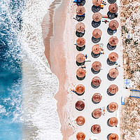 Buy canvas prints of Beach Print, Aerial Ocean Print, Aerial Beach Sea by Radu Bercan