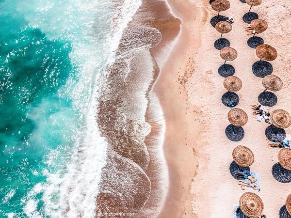 Ocean Print, Aerial Beach Print, Blue Teal Sea Framed Mounted Print by Radu Bercan