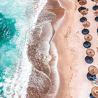 Buy canvas prints of Ocean Print, Aerial Beach Print, Blue Teal Sea by Radu Bercan