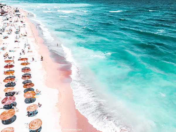 Aerial Beach, People And Colorful Umbrellas On Bea Framed Mounted Print by Radu Bercan