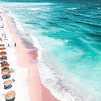Buy canvas prints of Aerial Beach, People And Colorful Umbrellas On Bea by Radu Bercan