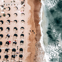 Buy canvas prints of Beach People, Aerial Photography, Coastal Ocean Wall Art Print, Ocean Sea Framed Art Print by Radu Bercan